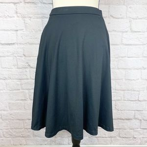 Cynthia Rowley Solid Black A Line Skater Skirt